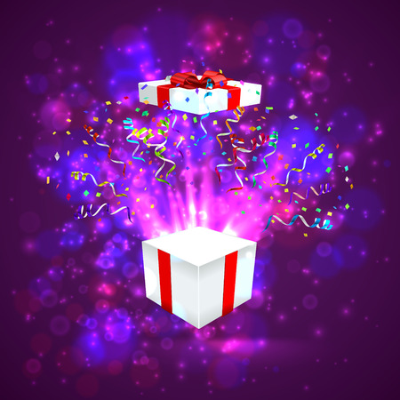 illustraion: Open gift with fireworks from confetti. vector illustraion