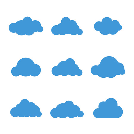 on cloud nine: Set of nine cloud icons vector illustration