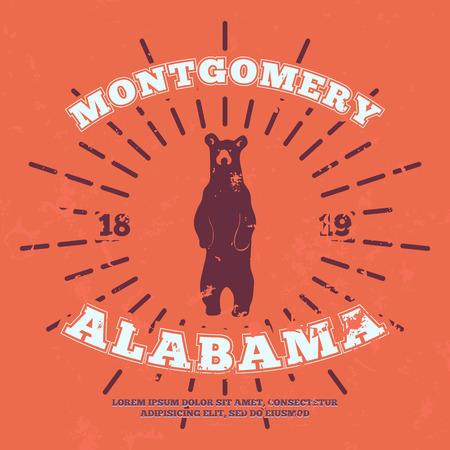 montgomery: Montgomery, Alabama. t-shirt graphic. Vector illustration