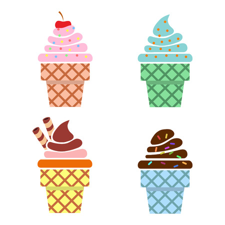 illsutration: Ice cream web icons. Flat design. Vector illsutration Illustration