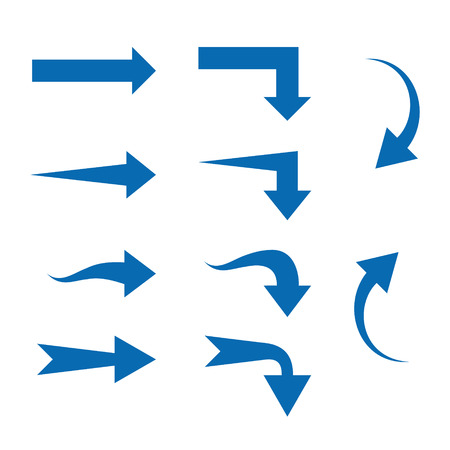 top pointer: Set of Ten different Arrows. Vector illustration