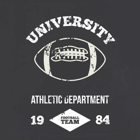 athletic wear: University football athletic dept. - Vintage print for sportswear apparel in custom colors