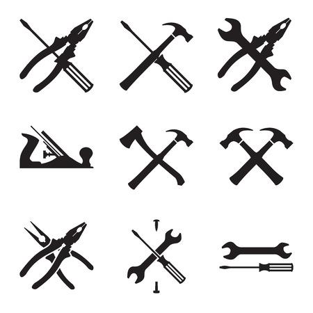 herramientas de carpinteria: Herramientas conjunto de iconos. Iconos aislados sobre fondo blanco. Ilustración vectorial Vectores