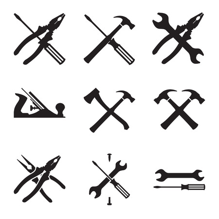 vintage timber: Tools icon set. Icons isolated on white background. Vector Illustration