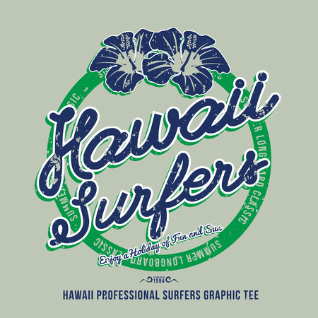 Hawaii surfers. t-shirt graphic. Vector illustration