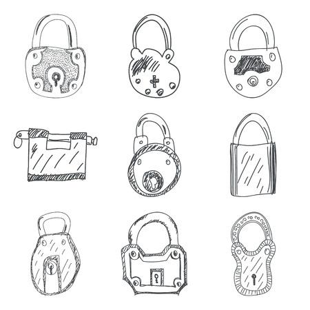 padlocks: Set of nine hand drawn padlocks vector illustration Illustration
