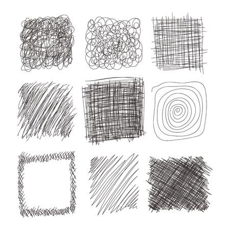 set of hand drawn lines textures, scribbles of pen, hatching, scratch Stock fotó - 42277850