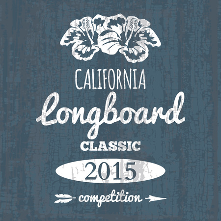 surf silhouettes: California longboard competition. t-shirt graphic vector illustration