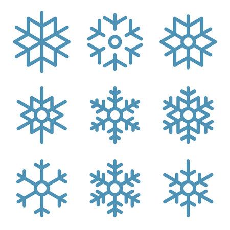 snowflake set: Set of Nine Snowflakes thin line ftat design vector illustration