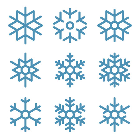 Set of Nine Snowflakes thin line ftat design vector illustration