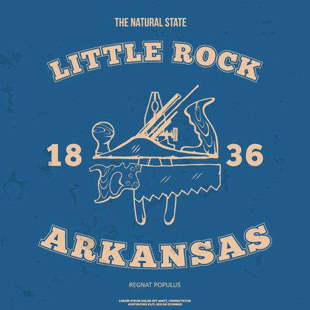 arkansas: Little Rock, Arkansas. t-shirt graphic. Vector illustration