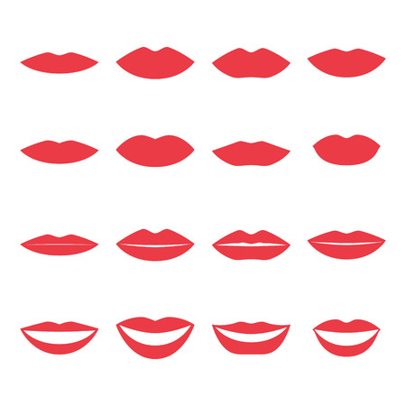 closeup: lips and mouth silhouette open and close up man and woman face parts vector illustration Illustration