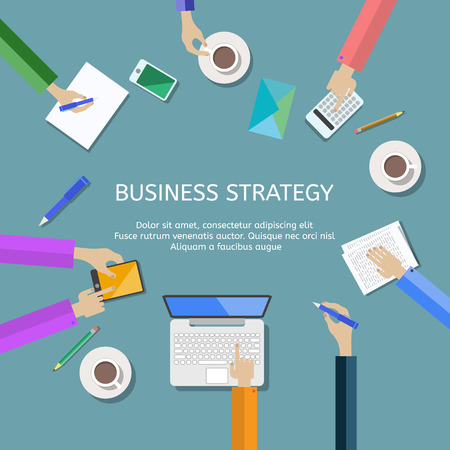 briefing: Set of flat design concepts for business strategy and creative process. Concepts for teamwork consulting on briefing, small business project presentation, planning, brainstorming and marketing ideas.vector