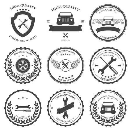 tire shop: Car service. Auto parts. tools Icons set. Vector illustration Illustration