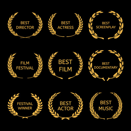 awarded: Film Awards, gold award wreaths on black background Vector