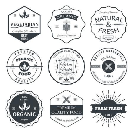 logo de comida: Conjunto de elementos de estilo vintage para las etiquetas y distintivos para los alimentos ecológicos y la bebida del vector