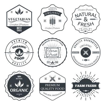 certified: Set of vintage style elements for labels and badges for organic food and drink vector
