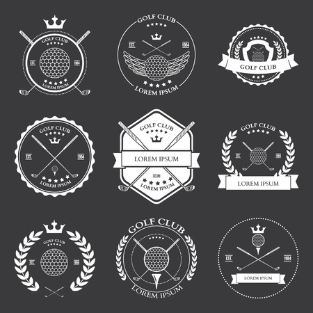 sport club: Golf labels and icons set vector illustration