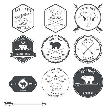 Set of vintage bear icons, emblems and labels. Vector illustration Stock fotó - 42278288