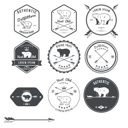 Set of vintage bear icons, emblems and labels. Vector illustration Illustration