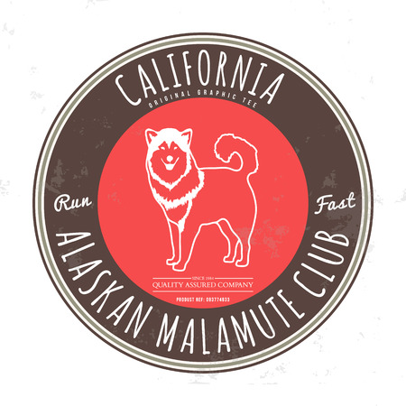 malamute: Alaskan malamute club. California Tee graphic. Vector. Grunge effect on separate layer Illustration
