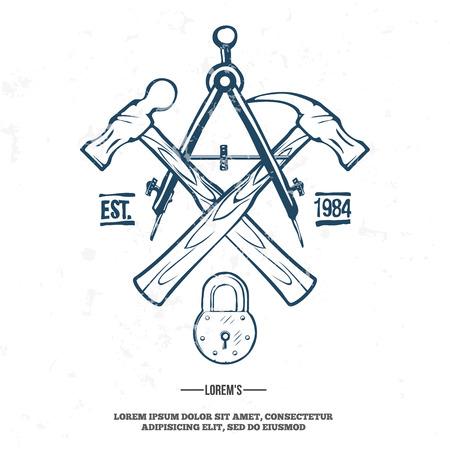 badge icon: Vintage carpentry tools, labels and design elements vector illustration. grunge on separate layer Illustration