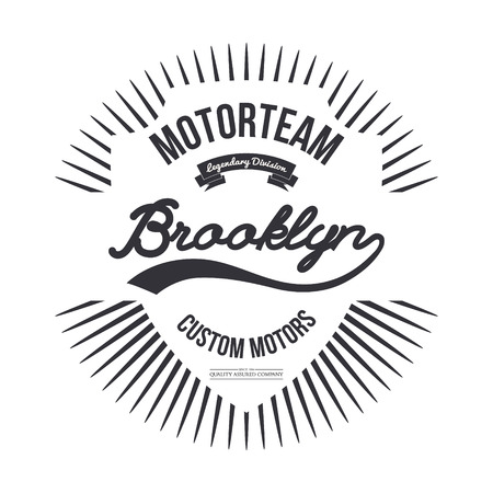 brooklyn: Motorteam Brooklyn. T-shirt graphic isolated. Vector illustration