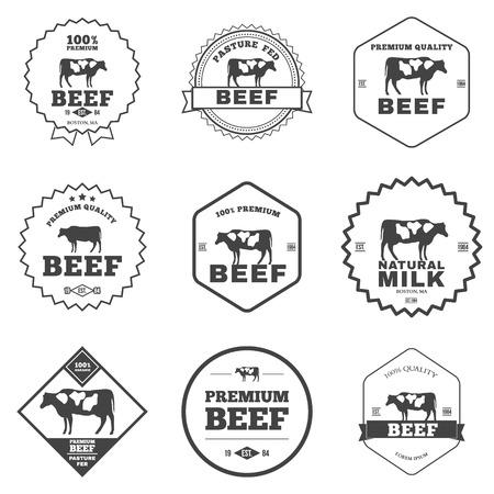 Set of premium beef labels, badges and design elements vector illustration