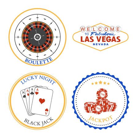 black jack: Casino Roulette Las Vegas Black Jack Jackpot design elements and badges set. Vector illustration