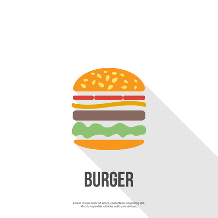 cheese burger: flat design Hamburger web icon. vector illustration