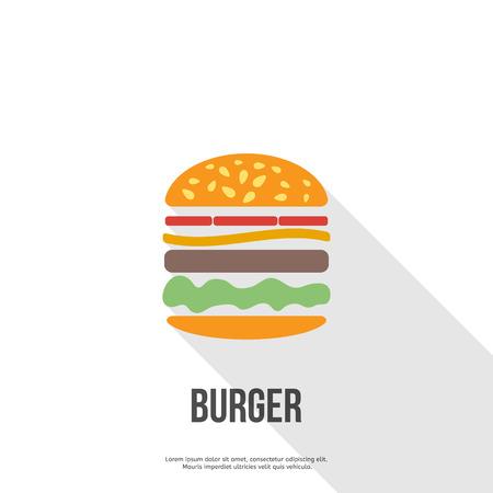 burger: flat design Hamburger web icon. vector illustration