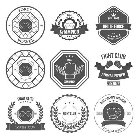 artes marciales mixtas: Conjunto de etiquetas Mixed Martial Arts, escudos y elementos de diseño Vectores