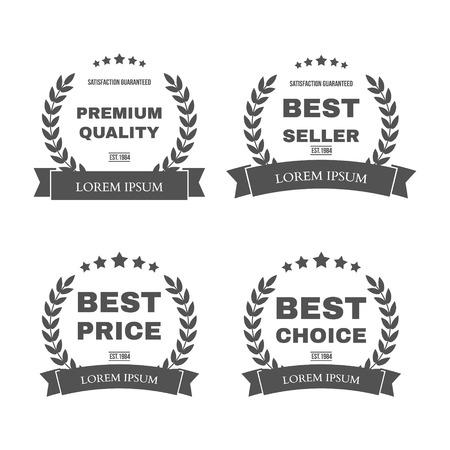 """vendedor: Vector vintage insignias colección """"alta calidad"""", """"Mejor proveedor"""", """"mejor precio"""" y """"mejor opción"""" Vectores"""