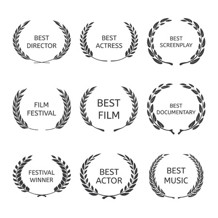 movie camera: Film Awards, award wreaths on black background vector