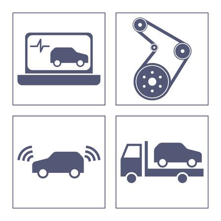 pc tune: Car service icons set. Vector Illustration Illustration