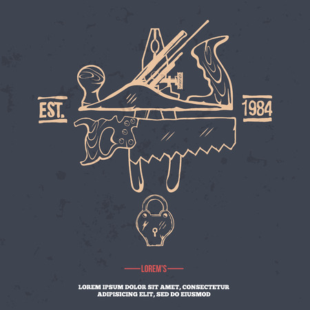 woodsman: Vintage carpentry tools, labels and design elements vector illustration. grunge on separate layer Illustration