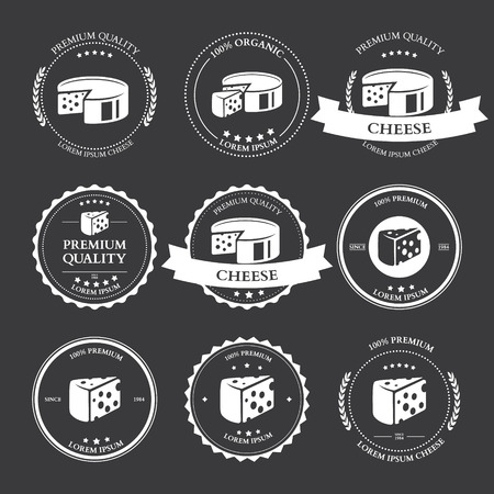 cheddar cheese: Set of premium Cheese Labels badges Vector illustration Illustration