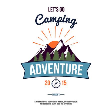 camping wilderness adventure badge graphic design logo emblem vector illustration Stock Illustratie