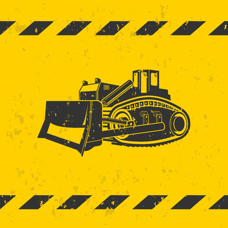 Bulldozer illustration on yellow background - grunge effect on separate layer