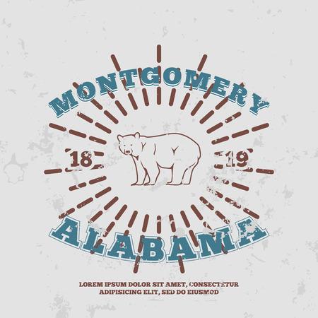 alabama: Montgomery, Alabama. t-shirt graphic. Vector illustration