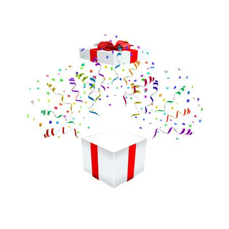 Open gift with fireworks from confetti vector illustraion Illusztráció