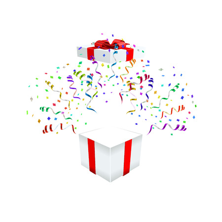 Open gift with fireworks from confetti vector illustraion Illustration