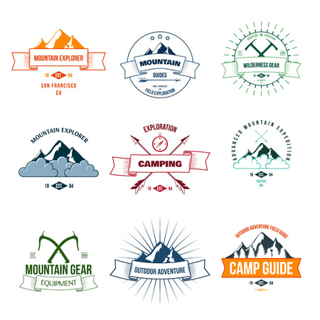 ice axe: Camping mountain adventure hiking explorer equipment labels set isolated vector illustration