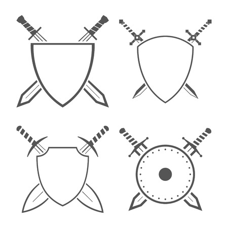 longsword: Set of heraldic shields and swords and sabres for heraldry design vector illustration