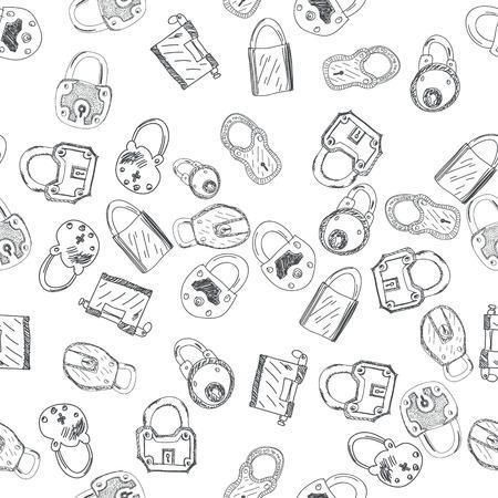 padlocks: Hand Drawn Padlocks Background Seamless Pattern Vector illustration