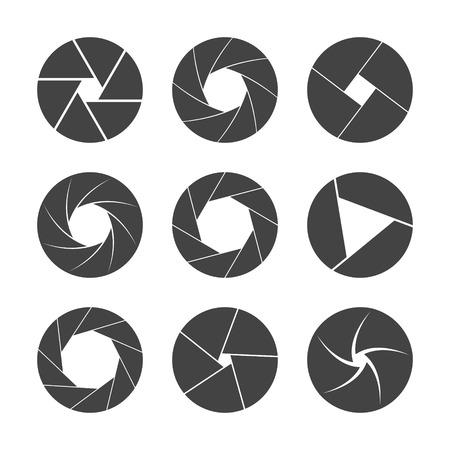 video camera icon: black camera shutter isolated on white background vector illustration Illustration