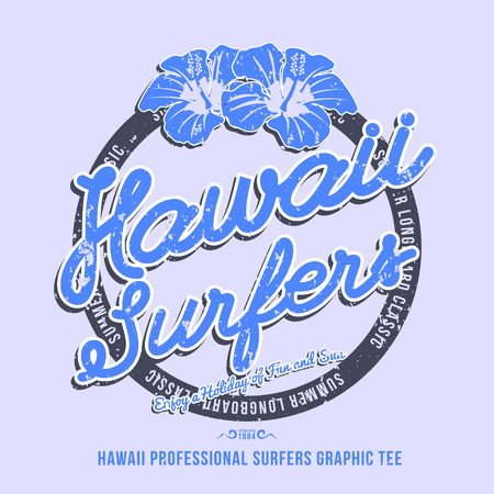 surfers: Hawaii surfers. t-shirt graphic. Vector illustration