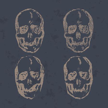halloween tee shirt: Set of Skulls isolated on background vector illustration