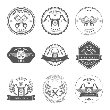 Race Bikers Garage Repair Service Emblemen en motorrijden Clubs Tournament collectie Labels geïsoleerd. Vector illustratie