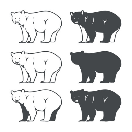 bear silhouette: Set of Six Bear Silhouette. Vector illustration